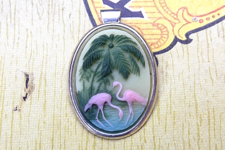Darling Flamingo Cabochon in Silvery Pendant Setting