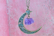 Patinaed Crescent Moon Pendant with Purple Crystal on Antiqued Bronze Chain