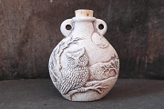 Ceramic High Fire Urn Featuring a Perched Owl and the Moon