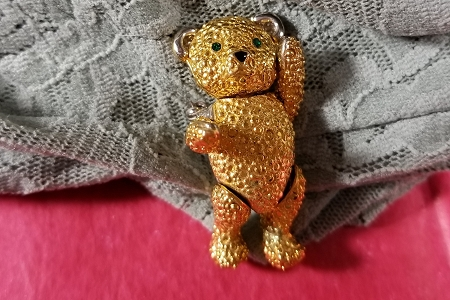 Rare Vintage Signed Articulated Golden Teddy Bear Brooch