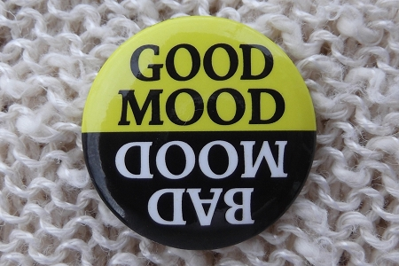 Reversible Button Pin - Good Mood/Bad Mood - You Choose