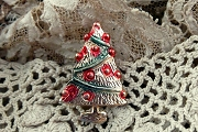 Vintage Novelty Christmas Tree Pin with Handpainted Accents