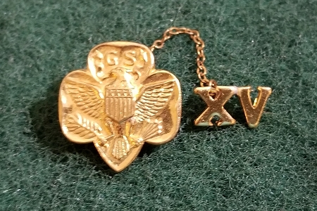 Vintage 15th Anniversary Golden Girl Scout Leader's Pin