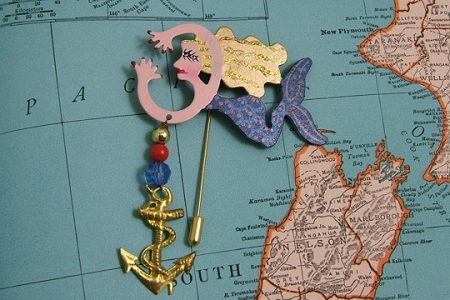 Signed Fancy Swimming Mermaid Stick Pin