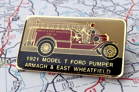 Vintage Model T Fire Truck Pin - Armagh & East Wheatfield, PA