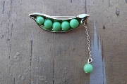 Gold Plated with Green Acrylic Peas In A Pod Pin