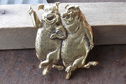 Vintage Happy Piggie Couple Pin