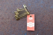 Set of 12 Vintage Pre-WWII German Brass Plated Safety Pins with Original Tag <br><font color=