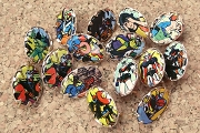15 Vintage Super Hero Cabochon Pins One of a Kind Assortment (WYSIWYG)