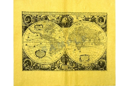 Map of the World in 1643 Reproduction Antiqued Parchment