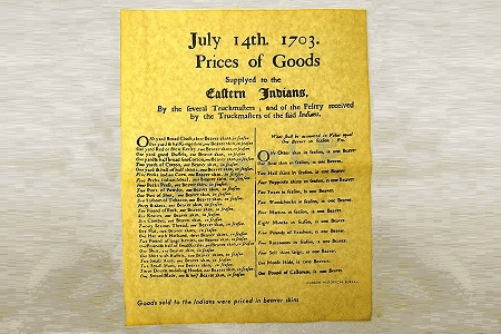 Prices of Goods to Indians 1703 - Reproduction Historical Document on Parchment