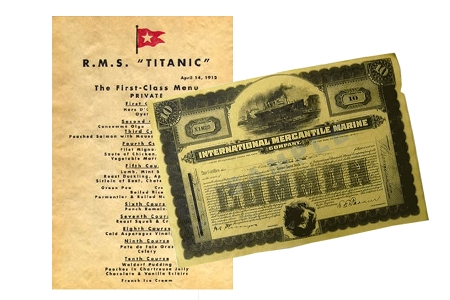 Set of 2 Reproduction Parchment Titanic Documents - Menu and Stock Certificate