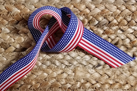 7/8 inch Patriotic American Flag Grosgrain Ribbon Spool - Almost 100 Yards