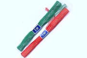 Package of 6 Lacy Woven Vintage Christmas Ribbons with Silver Stripe - 3 Red, 3 Green