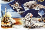 VINTAGE Astronauts (Space Kids) - Chromolithograph Embossed Die-Cut Reliefs