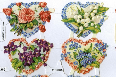 Repro German Scrap Reliefs - Floral Hearts