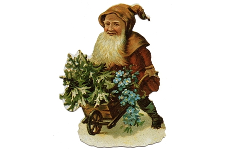 Funky Little Brown Santa with His Wheelbarrow