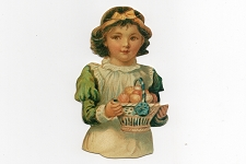 Die Cut & Embossed Girl with Easter Basket Victorian Scrap Tag