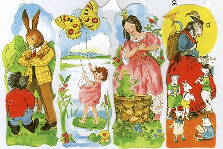 Reproduction Chromolithograph Die-Cut Scrap Relief Sheet: Mecki & Other Fairy Tales