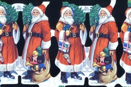 Reproduction Chromolithograph Embossed Die-Cut Reliefs - Santas with Blue Eyes