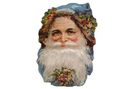 Reversible Santa Head with Blue Cap - Reproduction Victorian Scrap (Tag or Ornament)
