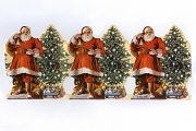 Three Santas with Christmas Tree Embossed and Die Cut Scrap