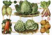 Vegetables - Reproduction Chromolithograph Die-Cut Scrap Relief Sheet