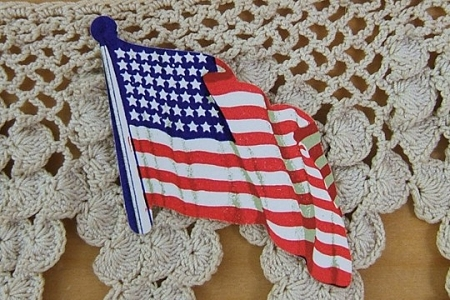 5 Large American Flags Die Cut Dennison Gummed Seals