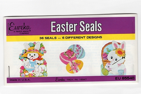 Vintage Easter Seals - Packet of 36 EUREKA Gummed (Water-Activated) Seals in 6 Designs