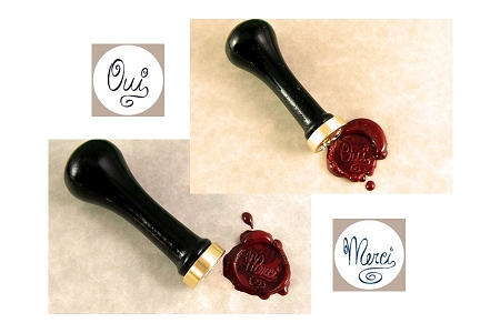 Traditional Interchangeable Sealing Wax Seal Set in Solid Brass - OUI and MERCI with Wooden Handle)