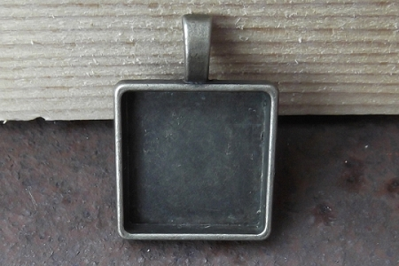 Antiqued Bronze Square Setting with Hanging Loop for Pendant - Holds a 20 mm Square Cabochon