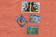 Set of 5 Disney Postage Stamps - Donald Duck, Mickey Mouse & Minnie Mouse