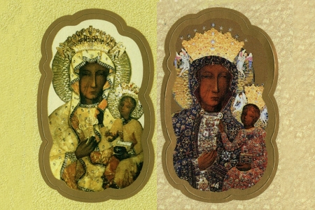 Fancy Die-Cut Stickers of Our Lady of Czestochowa - Sheet of 9