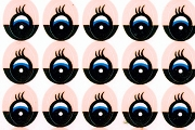 91 Pairs of Blue Doll Eyes Stickers