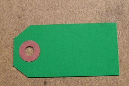 Green Mini Tag with Brown Reinforcement (Package of 10)