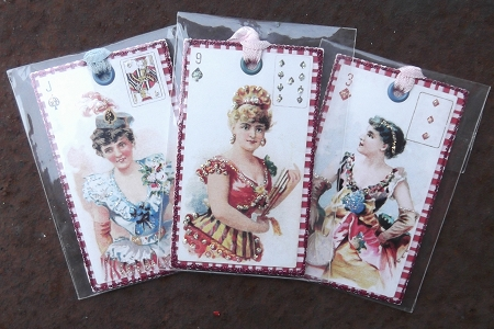 Set of 3 Hand Glittered Gift Tags featuring Victorian Women