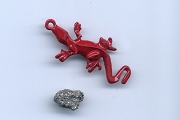 Chameleon Strong Luck Talisman Curio (Red Chameleon with Iron Pyrite)