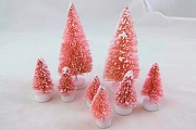 Set of 8 Pink Assorted Size Bottle Brush Trees