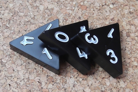 3 Vintage Black Plastic Tri-Ominos with White Numbers