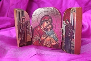 Mini Byzantine Wooden Triptych Icon of Mary and the Archangels - New Style