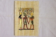 Hand-Painted Papyrus Portrait #2 - Trio with Golden Phoenix - Suitable for Framing