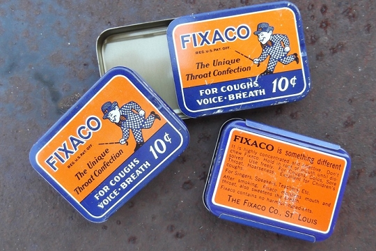 Vintage Old Store Stock Fixaco Throat Confection Tin