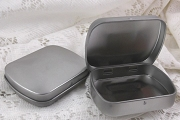 Small Hinged Steel Tin with Curved Top