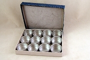 Glass-Topped Watchmakers' Tins: SMALL - 41mm - Pasteboard Box of 12 Tins