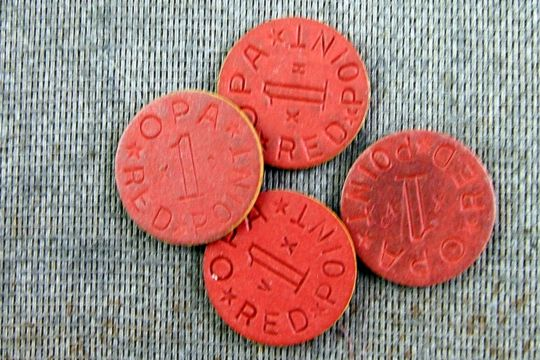 Authentic OPA Round Fiberboard Ration Token (Randomly Selected) - Red or Blue