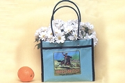 MEDIUM Bucking Bronco Vinyl Mexican Market Tote