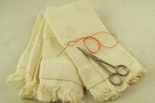 Fringed Towel with Aida Cloth for Cross Stitch or Other Embroidery