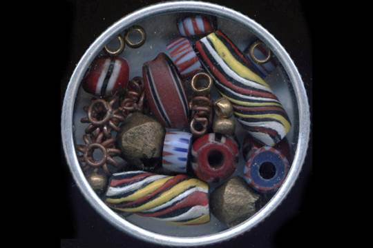 Watchmaker's Tin of 25 Authentic Vintage and New African Trade Beads