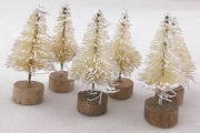 Tiny 1-1/2 Inch White Bottle Brush Tree