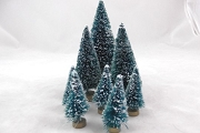 Set of 8 Green Bottle Brush Trees with Snow